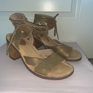 Gold Sandals with Wedge Heel